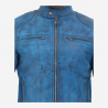 Latest Design Sky Blue Men Café Racer Leather Jacket with Distressed Finishing