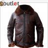 Men Aviator Bomber Leather Jacket