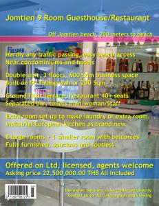 Jomtien 9 Room Guesthouse/Restaurant for Sale
